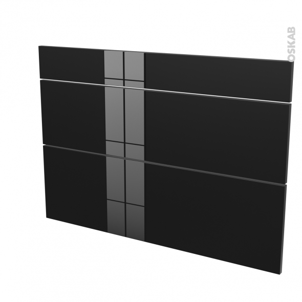 Façades de cuisine - 3 tiroirs N°75 - KERIA Noir - L100 x H70 cm