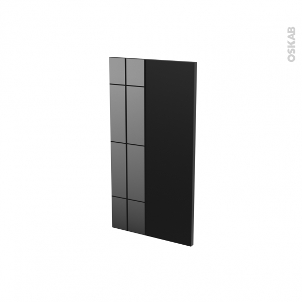 Finition cuisine - Joue N°30 - KERIA Noir - Avec sachet de fixation - L37 x H70 x Ep.1.6 cm
