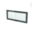 Façade noire alu vitrée - Porte N°11 - Sans poignée - L80 x H35 cm - SOKLEO