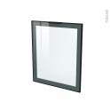 SOKLEO - Façade noire alu vitrée avec poignée - Porte N°21 - L60xH70