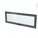 SOKLEO - Façade noire alu vitrée avec poignée - Porte N°12 - L100xH35