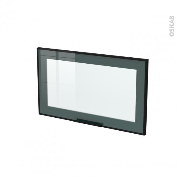 SOKLEO - Façade noire alu vitrée avec poignée - Porte N°10 - L60xH35