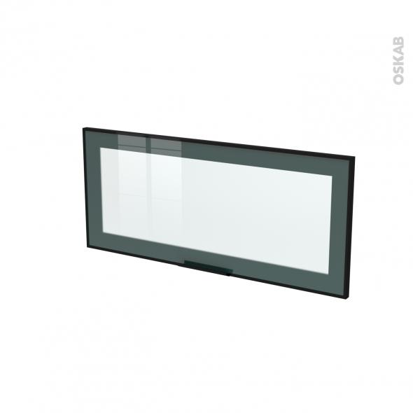 SOKLEO - Façade noire alu vitrée avec poignée- Porte N°11 - L80xH35