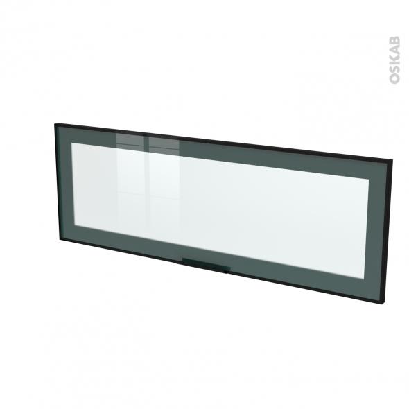 Façade noire alu vitrée - Porte N°12 - Avec poignée - L100 x H35 cm - SOKLEO