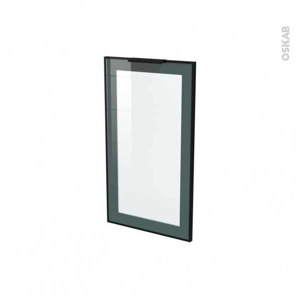 SOKLEO - Façade noire alu vitrée avec poignée - Porte N°19 - L40xH70 -