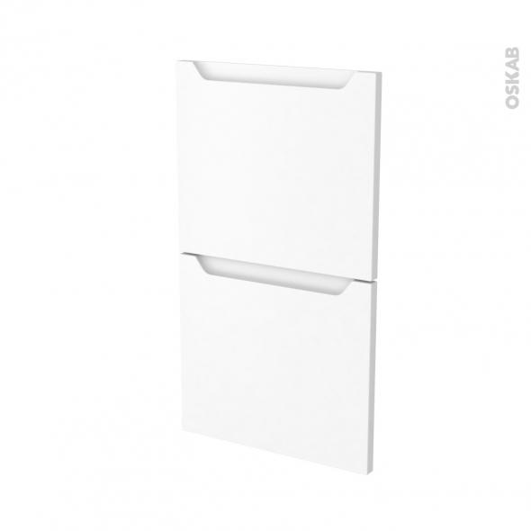 Façades de cuisine - 2 tiroirs N°52 - PIMA Blanc - L40 x H70 cm