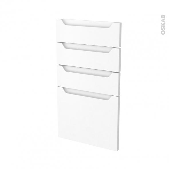 Façades de cuisine - 4 tiroirs N°53 - PIMA Blanc - L40 x H70 cm
