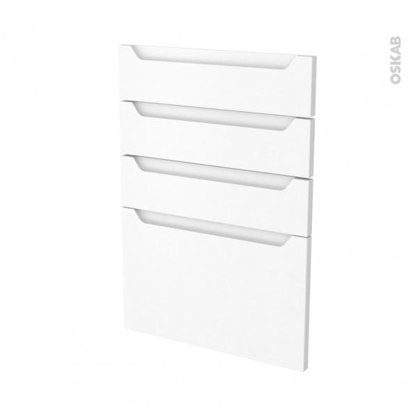 Façades de cuisine - 4 tiroirs N°55 - PIMA Blanc - L50 x H70 cm