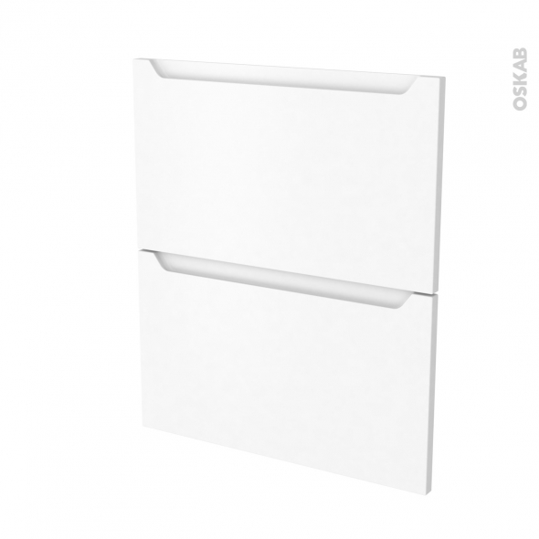 Façades de cuisine - 2 tiroirs N°57 - PIMA Blanc - L60 x H70 cm