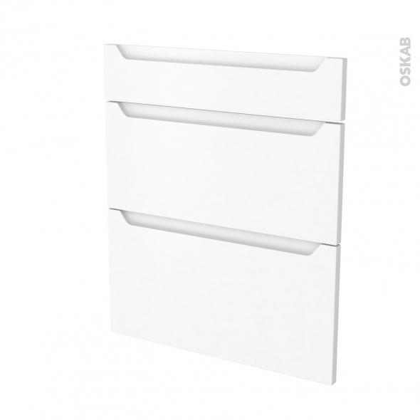 Façades de cuisine - 3 tiroirs N°58 - PIMA Blanc - L60 x H70 cm