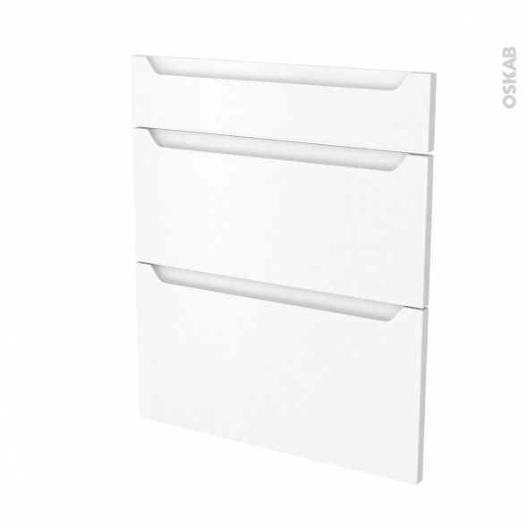 PIMA Blanc - façade N°58 3 tiroirs - L60xH70