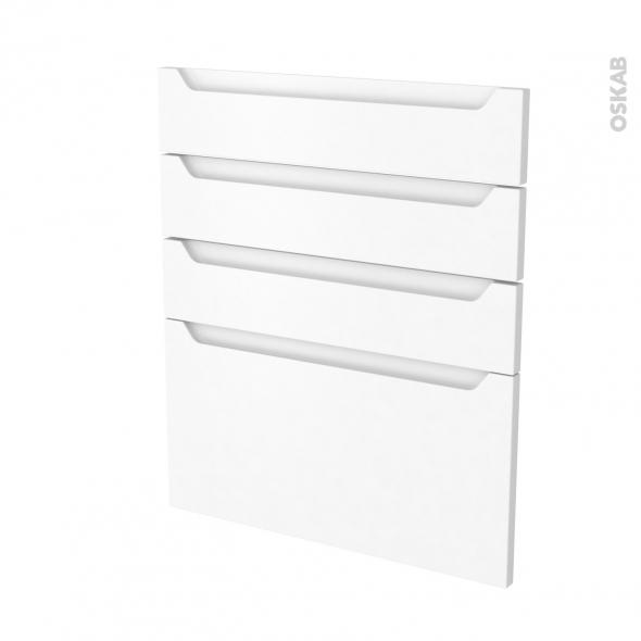 Façades de cuisine - 4 tiroirs N°59 - PIMA Blanc - L60 x H70 cm