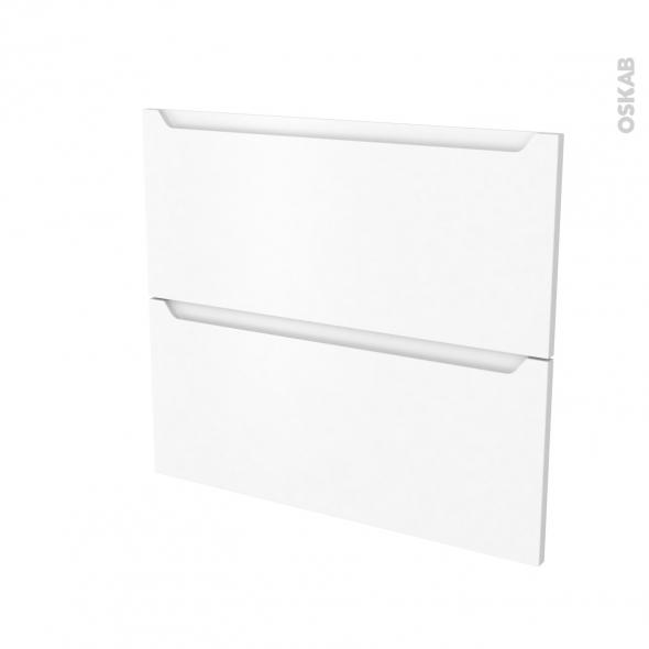 Façades de cuisine - 2 tiroirs N°60 - PIMA Blanc - L80 x H70 cm
