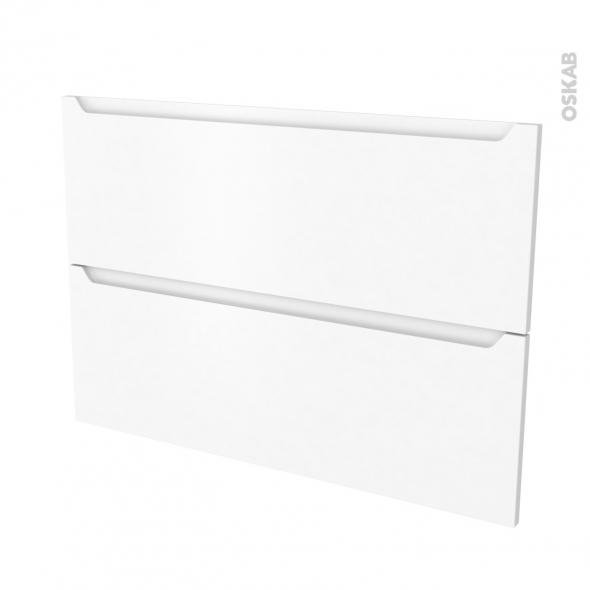 Façades de cuisine - 2 tiroirs N°61 - PIMA Blanc - L100 x H70 cm
