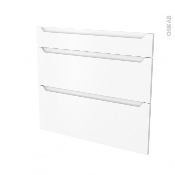 Façades de cuisine - 3 tiroirs N°74 - PIMA Blanc - L80 x H70 cm