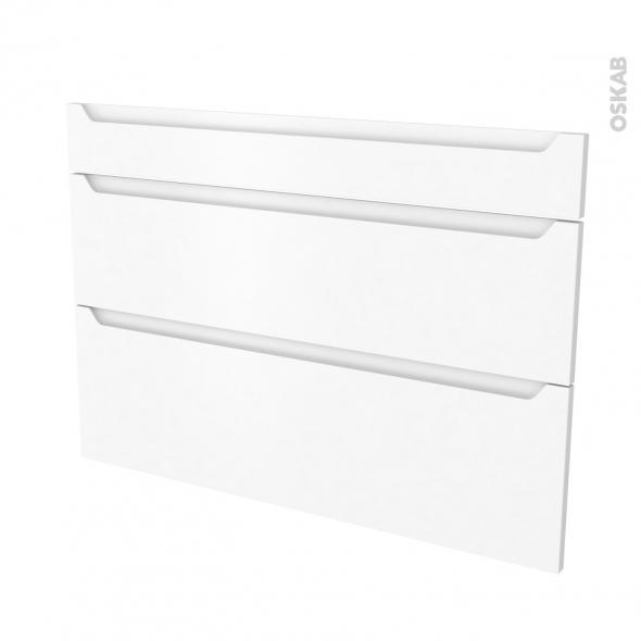 Façades de cuisine - 3 tiroirs N°75 - PIMA Blanc - L100 x H70 cm