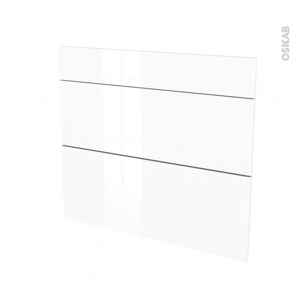 STECIA Blanc - façade N°74 3 tiroirs - L80xH70