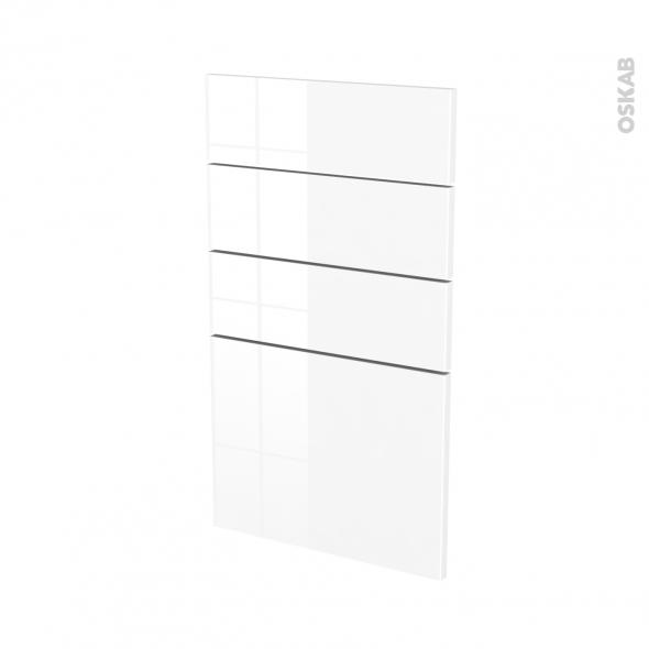 Façades de cuisine - 4 tiroirs N°53 - STECIA Blanc - L40 x H70 cm