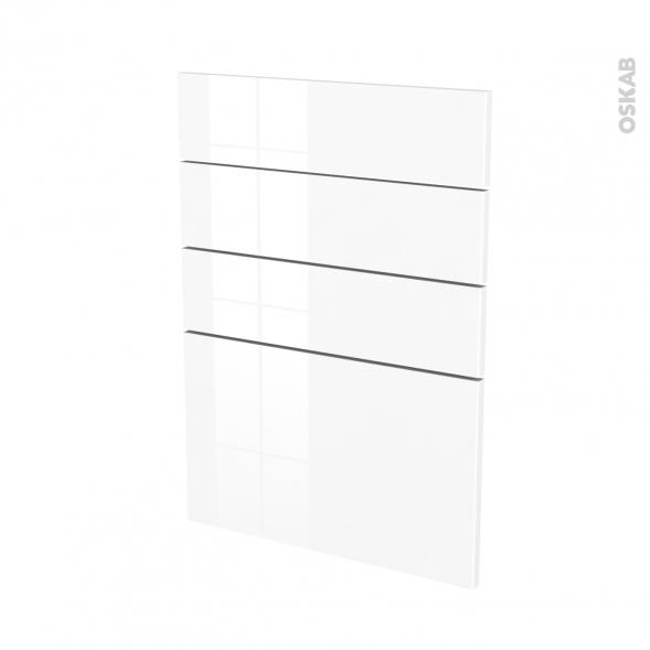 Façades de cuisine - 4 tiroirs N°55 - STECIA Blanc - L50 x H70 cm