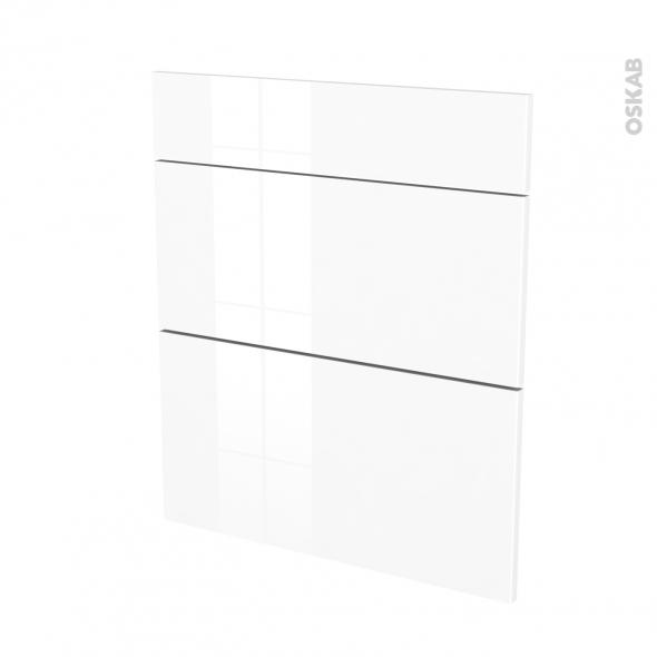 Façades de cuisine - 3 tiroirs N°58 - STECIA Blanc - L60 x H70 cm
