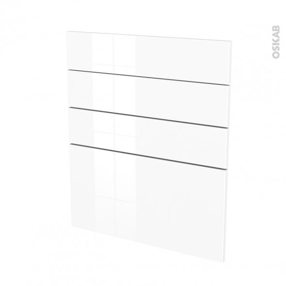 Façades de cuisine - 4 tiroirs N°59 - STECIA Blanc - L60 x H70 cm