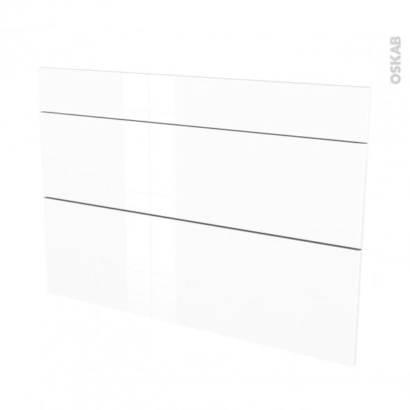 Façades de cuisine - 3 tiroirs N°75 - STECIA Blanc - L100 x H70 cm