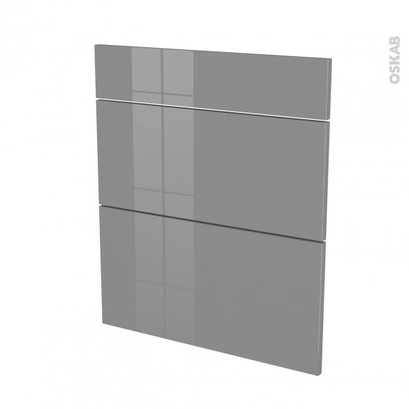 Façades de cuisine - 3 tiroirs N°58 - STECIA Gris - L60 x H70 cm