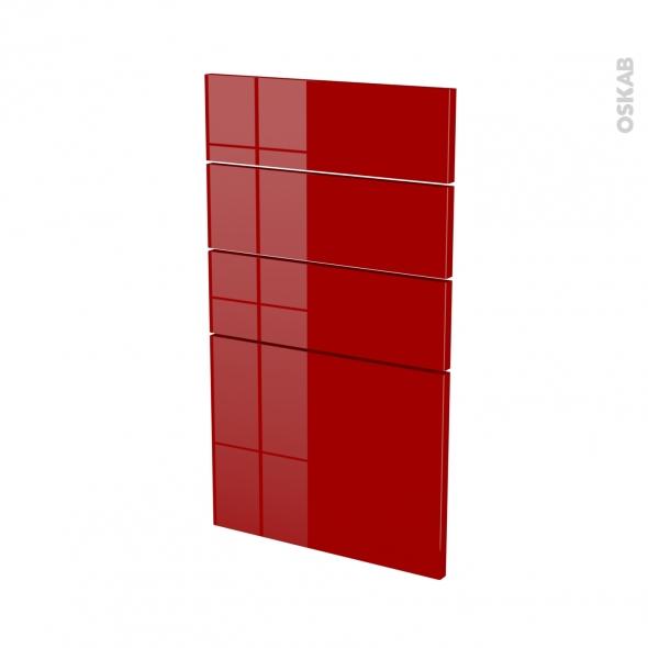 Façades de cuisine - 4 tiroirs N°53 - STECIA Rouge - L40 x H70 cm