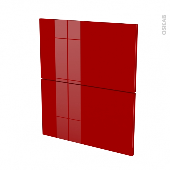 Façades de cuisine - 2 tiroirs N°57 - STECIA Rouge - L60 x H70 cm