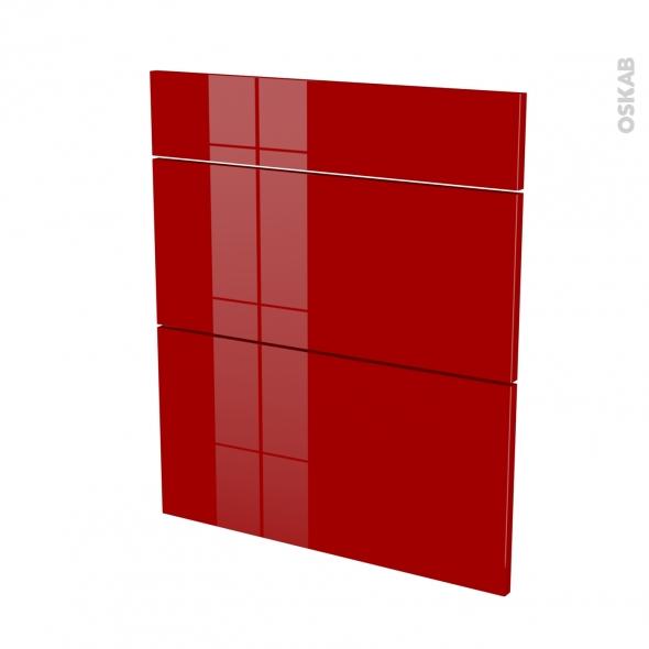 Façades de cuisine - 3 tiroirs N°58 - STECIA Rouge - L60 x H70 cm