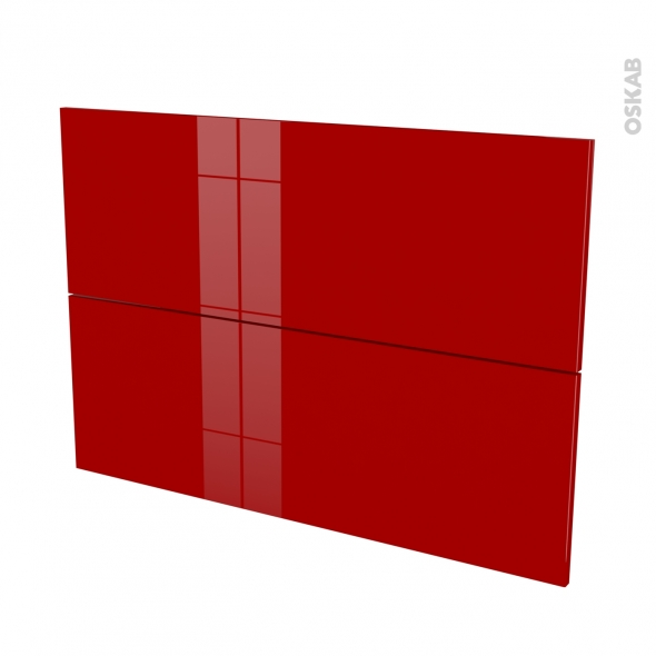 Façades de cuisine - 2 tiroirs N°61 - STECIA Rouge - L100 x H70 cm