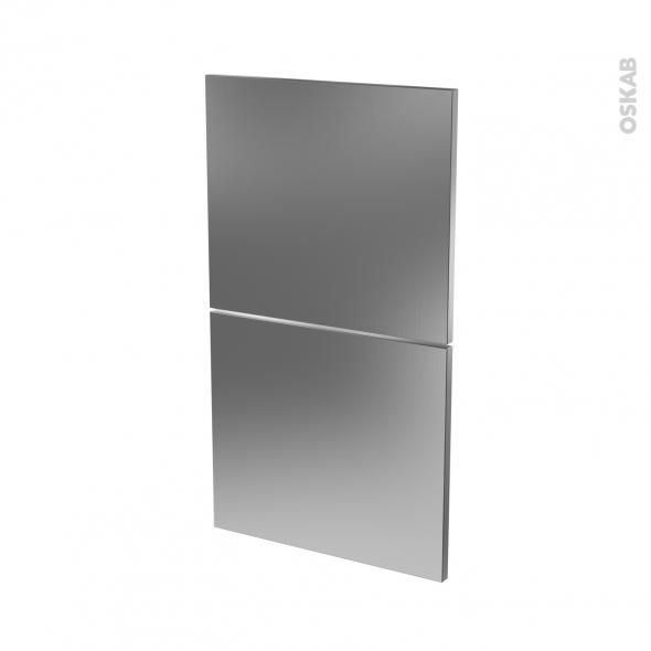 STILO Inox - façade N°52  2 tiroirs - L40xH70
