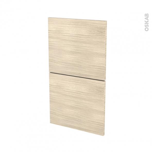 Façades de cuisine - 2 tiroirs N°52 - STILO Noyer Blanchi - L40 x H70 cm