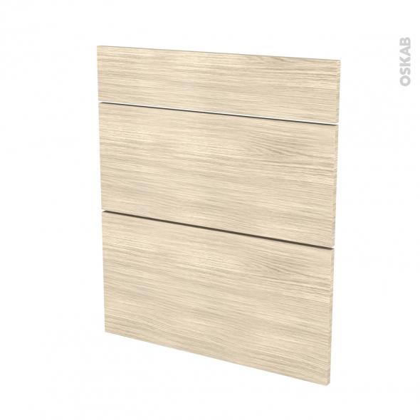 Façades de cuisine - 3 tiroirs N°58 - STILO Noyer Blanchi - L60 x H70 cm