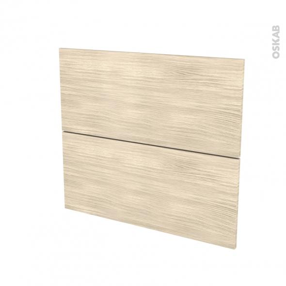 Façades de cuisine - 2 tiroirs N°60 - STILO Noyer Blanchi - L80 x H70 cm