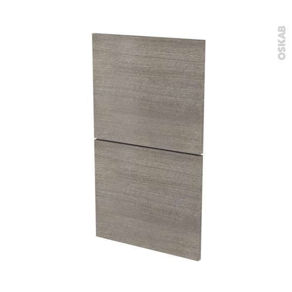 Façades de cuisine - 2 tiroirs N°52 - STILO Noyer Naturel - L40 x H70 cm