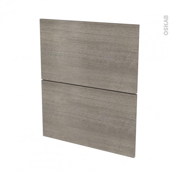 Façades de cuisine - 2 tiroirs N°57 - STILO Noyer Naturel - L60 x H70 cm