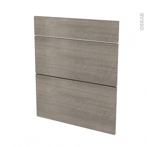 Façades de cuisine - 3 tiroirs N°58 - STILO Noyer Naturel - L60 x H70 cm