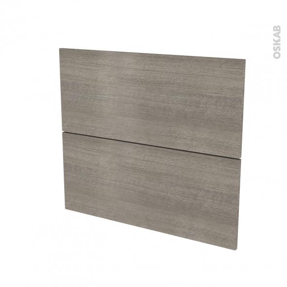 Façades de cuisine - 2 tiroirs N°60 - STILO Noyer Naturel - L80 x H70 cm