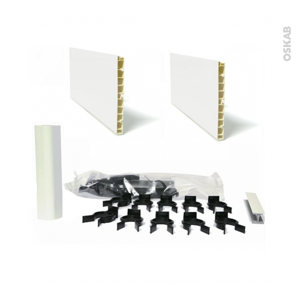 kit 2 plinthes de cuisine pvc blanc brillant avec clips et. Black Bedroom Furniture Sets. Home Design Ideas