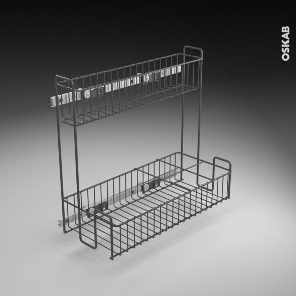 rangement lessiviel pour produits d 39 entretien 2 tages panier coulissant epoxy anthracite l40 x. Black Bedroom Furniture Sets. Home Design Ideas