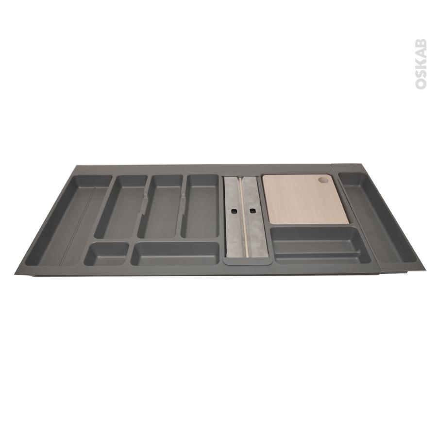 Range couverts pour tiroir l 39 anglaise l100 cm anthracite for Porte rouleau cuisine
