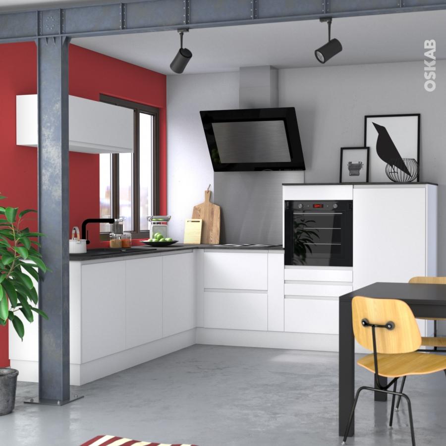 Meuble de cuisine bas ipoma blanc mat 1 porte l60 x h70 x p58 cm oskab - Cuisine blanc mat ...