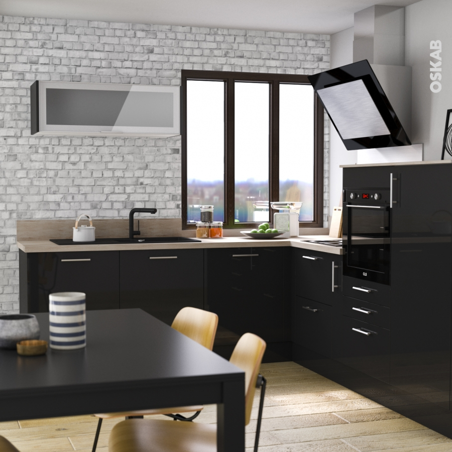 plinthe de cuisine keria noir avec joint d 39 tanch it l220xh15 4 oskab. Black Bedroom Furniture Sets. Home Design Ideas