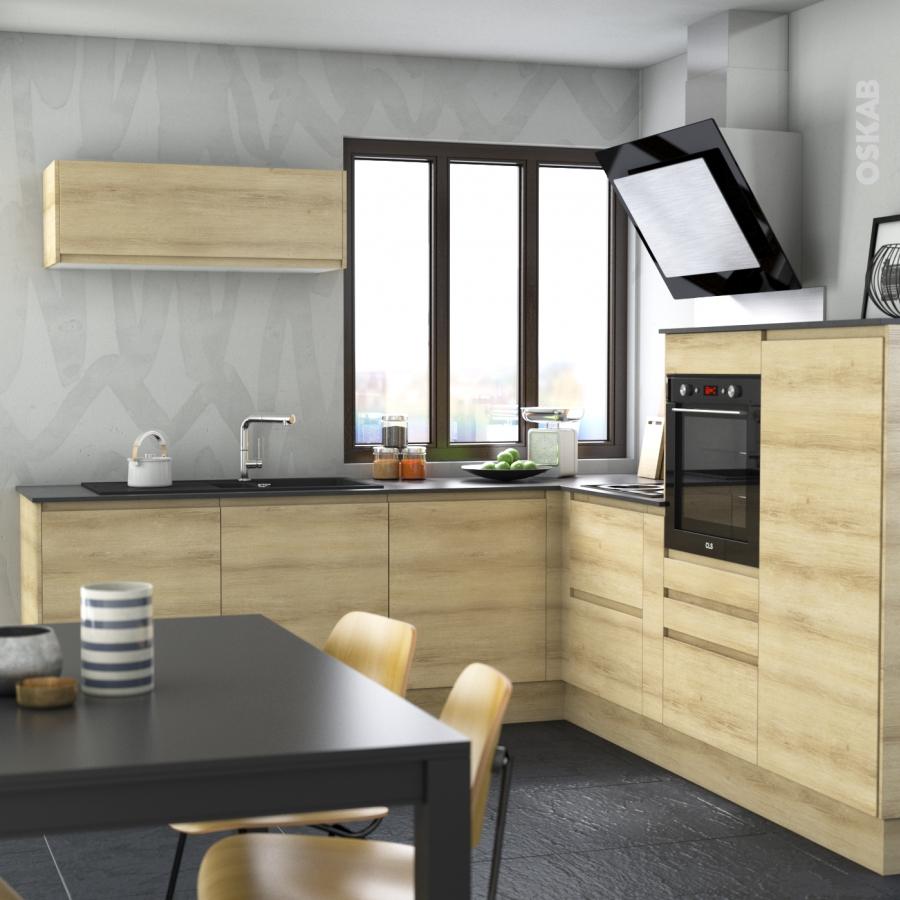 meuble de cuisine casserolier ipoma ch ne naturel 3 tiroirs l60 x h70 x p58 cm oskab. Black Bedroom Furniture Sets. Home Design Ideas