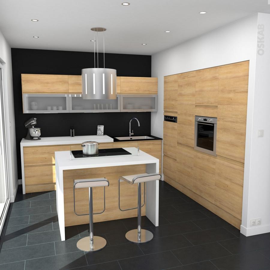 Echantillon meuble de cuisine ipoma ch ne naturel l7xh14 for Cuisine 3d oskab