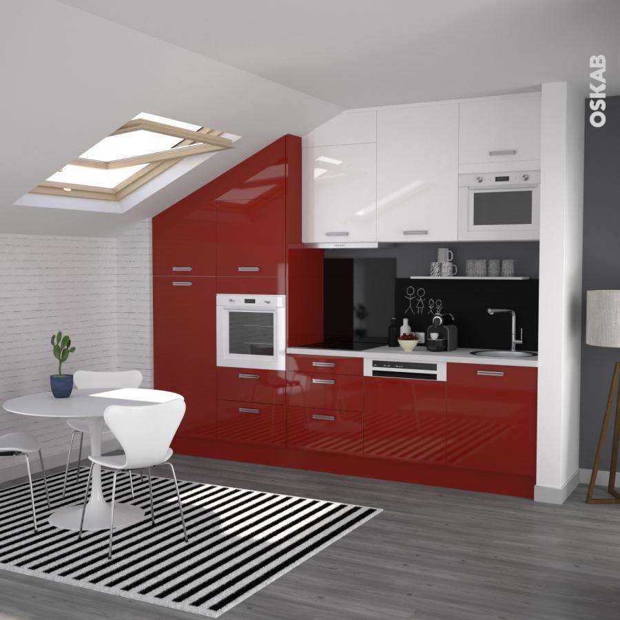Meuble de cuisine angle bas stecia rouge demi lune for Cuisine oskab