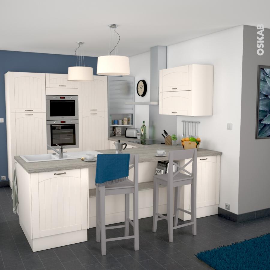 Silen ivoire meuble sous vier 2 portes l80xh70xp58 oskab for Cuisine 4 sous