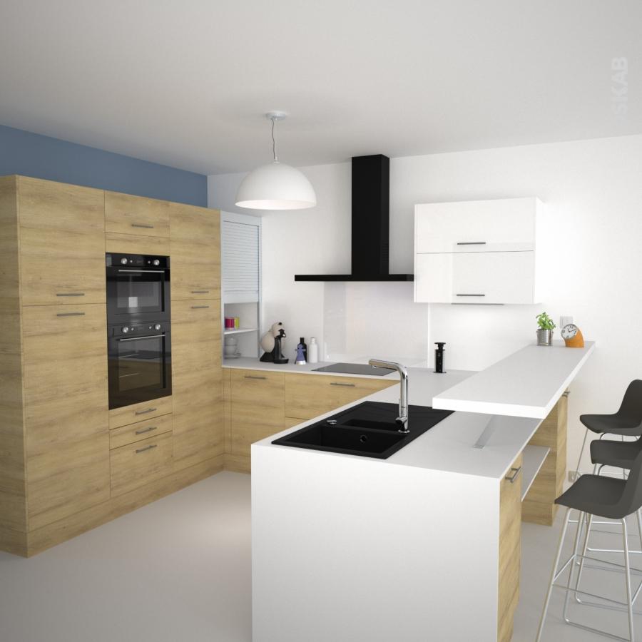 Plan de travail cuisine n 107 d cor blanc brillant - Cuisine moderne blanche et bois ...
