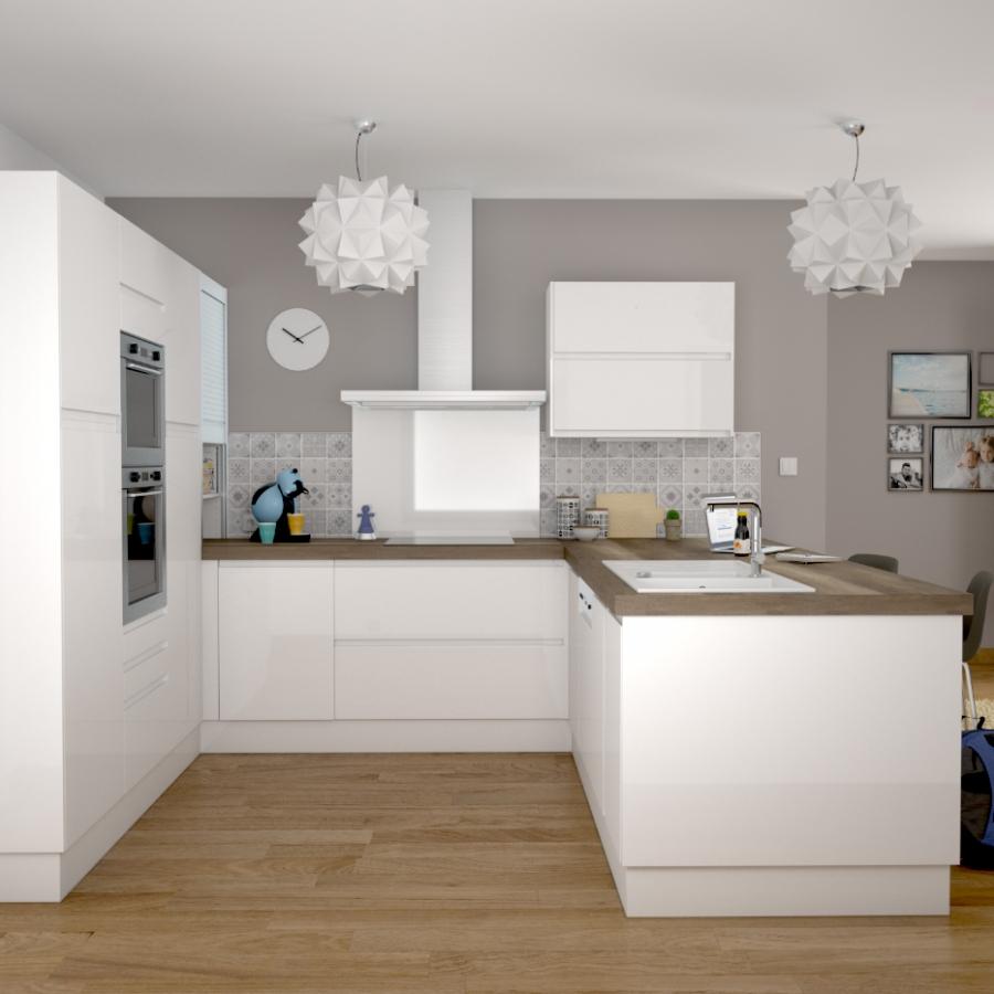 Fa ades de cuisine porte n 12 ipoma blanc brillant l100 x for Cuisine 3d oskab